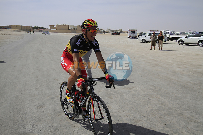 BMC Racing Team rider and Belgian Champion Philippe Gilbert (BEL) heads to the start of Stage 4 of the 2012 Tour of Qatar from Al Thakhira to Madinat Al Shamal, Qatar. 8th February 2012.<br /> (Photo Eoin Clarke/Newsfile)