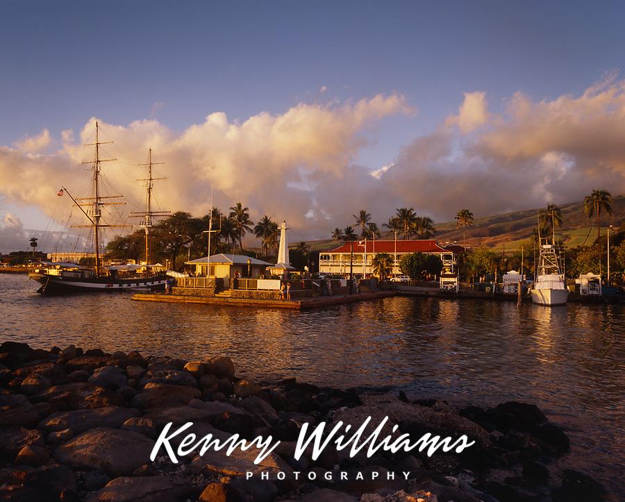 Lahaina Boat Harbor at Sunset, Maui, Hawaii, USA.