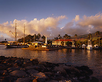 Lahaina Boat Harbor at Sunset, Maui, Hawaii, USA.