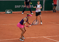 Paris, France, 2 june 2021, Tennis, French Open, Roland Garros, First round womans doubles match: Demi Schuurs (NED)  (R) and  Nicole Melichar (USA)<br /> Photo: tennisimages.com