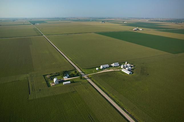 Crops on prairie near Peoria Illinois