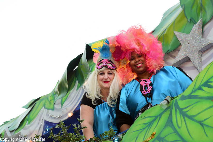 The Muses parade rolls in New Orleans on Thursday, Feb. 23, 2017. Organizers Virginia Saussy and Dionne Randolph get ready to ride. (AFP/CHERYL GERBER)