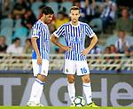 Real Sociedad's Carlos Vela (l) and Sergio Canales during La Liga match. August 25,2017. (ALTERPHOTOS/Acero)