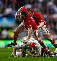 Photo: Richard Lane/Richard Lane Photography. England v Wales. 25/02/2012. Wales' Ken Owens attacks.