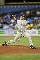 May 23rd 2008:  Pitcher Zack Greinke (23) of the Kansas City Royals during a game at the Rogers Centre in Toronto, Ontario, Canada .  Photo by:  Mike Janes/Four Seam Images