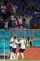 3rd July 2021, Stadio Olimpico, Rome, Italy;  Euro 2020 Football Championships, England versus Ukraine quarter final; Harry Kane  of England celebrates scoring with teammates
