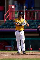 Erie SeaWolves Drew Ward (21) bats during a game against the Harrisburg Senators on September 5, 2021 at UPMC Park in Erie, Pennsylvania.  (Mike Janes/Four Seam Images)