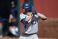 Bryce Butler (4) of the Catawba Indians at bat during game two of a double-header against the Queens Royals at Tuckaseegee Dream Fields on March 26, 2021 in Kannapolis, North Carolina. (Brian Westerholt/Four Seam Images)