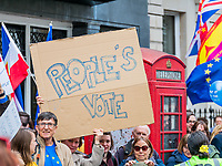 "London, UK - March 23 2019: the ""People's Vote"" banner during the demonstration the people Brexit march for people's vote protest. Photo Adamo Di Loreto/BuenaVista*photo"