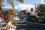 Spain, Canary Islands, La Palma, El Paso: village centre with townhall and village church