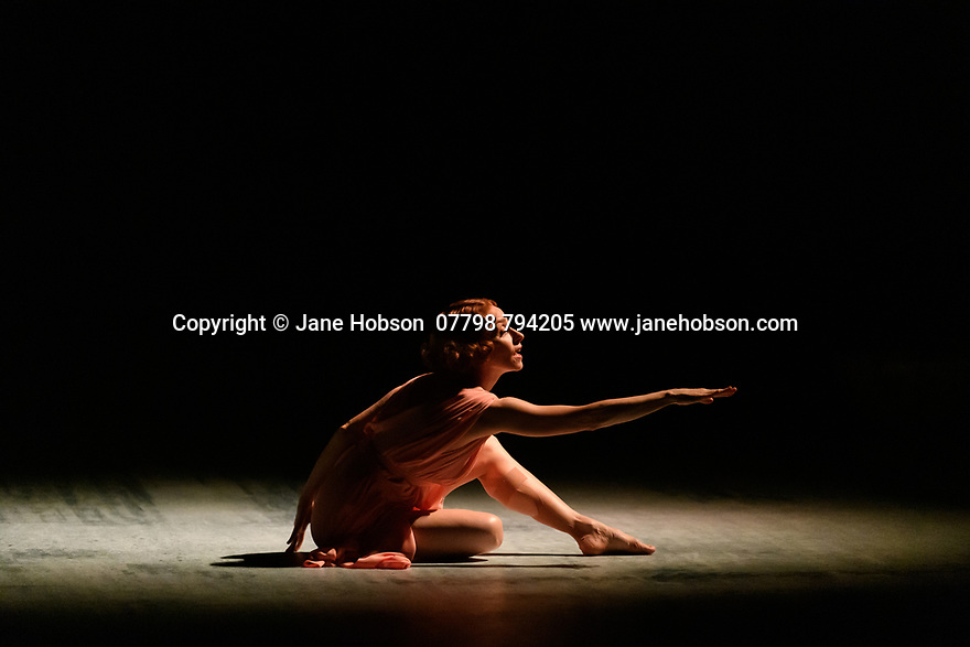 "The Barbican presents Viviana Durante Company, in the world premiere of ""Isadora Now"", an evening paying tribute to feminist icon, Isadora Duncan, in the Barbican theatre. The piece shown is: FIVE BRAHMS WALTZES IN THE MANNER OF ISADORA DUNCAN, choreographed by Frederick Aston. The dancer is: Viviana Durante. Costume design is by David Dean."