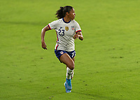 ORLANDO, FL - JANUARY 22: Margaret Purce #23 makes a run during a game between Colombia and USWNT at Exploria stadium on January 22, 2021 in Orlando, Florida.