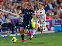 ORLANDO, FL - MARCH 05: Tobin Heath #17 of the United States pulls away from Keira Walsh #4 of England during a game between England and USWNT at Exploria Stadium on March 05, 2020 in Orlando, Florida.