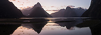 Twilight reflections of Mitre Peak in Milford Sound, Fiordland National Park, UNESCO World Heritage Area, Southland, New Zealand, NZ