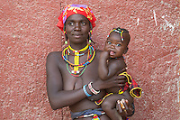 Zemba woman and her baby in Opuwo, Namibia