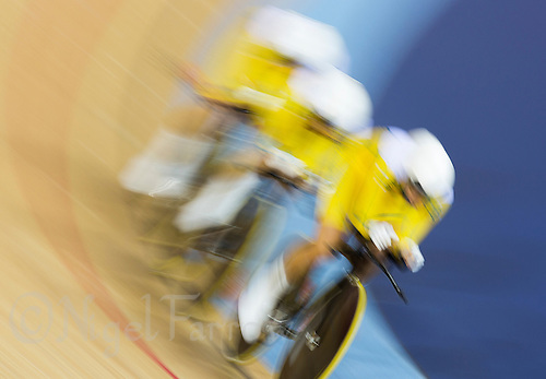 03 AUG 2012 - LONDON, GBR - The team from Australia (AUS) race against the clock during the women's Team Pursuit qualifying round at the London 2012 Olympic Games in the Olympic Park Velodrome in Stratford, London, Great Britain (PHOTO (C) 2012 NIGEL FARROW)