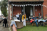 Made in Roath Arts Festival 2014. Cardiff Wales. Ninian Road front gardens tea party.