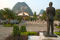 Statue on The Sun Zhongshan Speech Making Platform, Yangshuo, Guangxi, China.