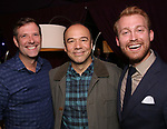 """Dan Fortune, Danny Burstein and Daniel Dunlow backstage after """"Stigma"""" on September 9, 2018 at the Green Room 42 in New York City."""