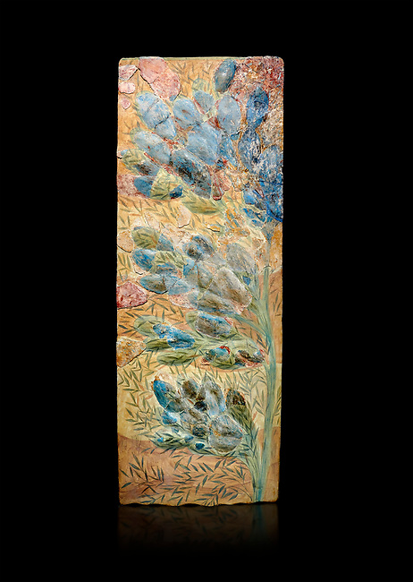 Minoan floral wall art fresco from Knossos Palace, 1600-1300 BC. Heraklion Archaeological Museum.