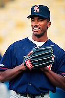 Garret Anderson of the California Angels at Anaheim Stadium in Anaheim,California during the 1996 season. (Larry Goren/Four Seam Images)