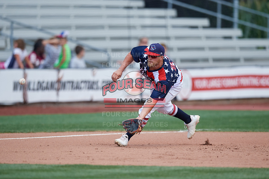 Quad Cities River Bandits third baseman Colton Shaver (37) fields a ground ball during a game against the West Michigan Whitecaps on July 23, 2018 at Modern Woodmen Park in Davenport, Iowa.  Quad Cities defeated West Michigan 7-4.  (Mike Janes/Four Seam Images)