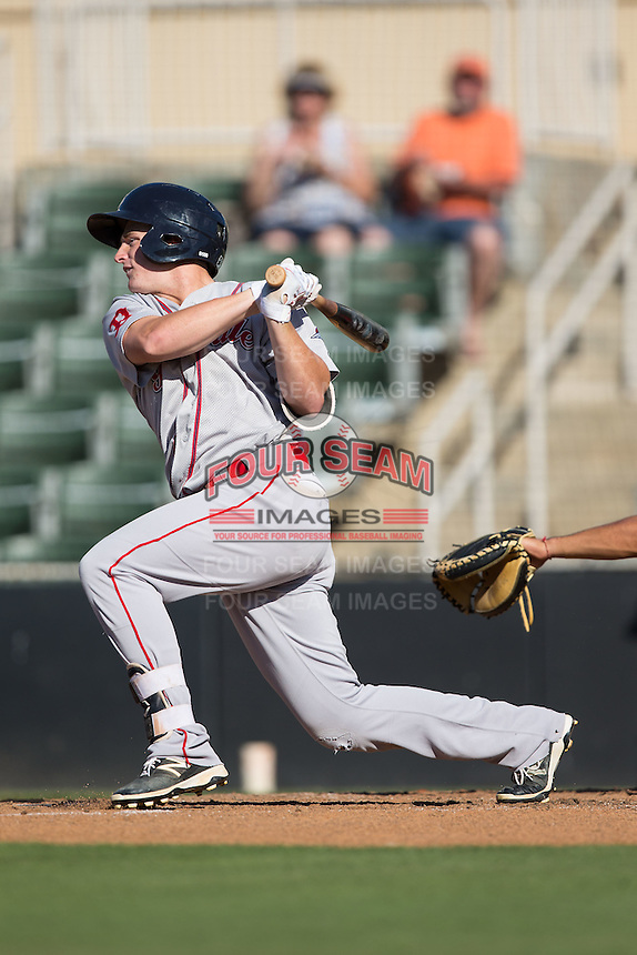Tate Matheny (16) of the Greenville Drive follows through on his swing against the Kannapolis Intimidators at Intimidators Stadium on June 7, 2016 in Kannapolis, North Carolina.  The Drive defeated the Intimidators 4-1 in game one of a double header.  (Brian Westerholt/Four Seam Images)
