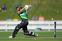 Central Stags' Christian Leopard is bowled by Jeetan Patel during the Dream11 Super Smash T20 cricket match between the Wellington Firebirds and Central Stags at Basin Reserve in Wellington, New Zealand on Thursday, 18 December 2019. Photo: Dave Lintott / lintottphoto.co.nz