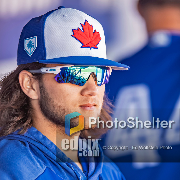 6 March 2019: Toronto Blue Jays top prospect infielder Bo Bichette in the dugout during a Spring Training game against the Philadelphia Phillies at Dunedin Stadium in Dunedin, Florida. The Blue Jays defeated the Phillies 9-7 in Grapefruit League play. Mandatory Credit: Ed Wolfstein Photo *** RAW (NEF) Image File Available ***