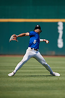 Q Phillips (8) of Brookfield East High School in Elm Grove, WI during the Perfect Game National Showcase at Hoover Metropolitan Stadium on June 19, 2020 in Hoover, Alabama. (Mike Janes/Four Seam Images)