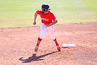 GREENSBORO, NC - FEBRUARY 22: Tahlia Brown #11 of Fairfield University runs towards third base during a game between Fairfield and North Carolina at UNCG Softball Stadium on February 22, 2020 in Greensboro, North Carolina.