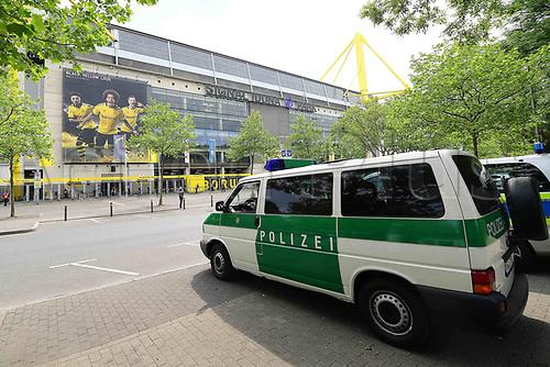 16th May 2020, Signal Iduna Park, Dortmund, Germany; Bundesliga football, Borussia Dortmund versus FC Schalke;  Police cars are parked in front of the Signal Iduna Park in Dortmund