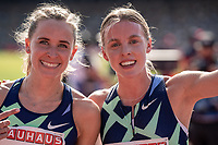 4th July 2021; Stockholm Olympic Stadium, Stockholm, Sweden; Diamond League Grand Prix Athletics, Bauhaus Gala; Keely Hodgkinson celebrates a personal best of 1:57 in the 800m with Swiss runner Hedda Hynne