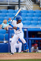 Dunedin Blue Jays left fielder Rodrigo Orozco (3) at bat during a game against the Clearwater Threshers on April 8, 2018 at Dunedin Stadium in Dunedin, Florida.  Dunedin defeated Clearwater 4-3.  (Mike Janes/Four Seam Images)