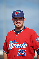 Fort Myers Miracle pitcher Alex Phillips (25) during introductions before a Florida State League game against the Charlotte Stone Crabs on April 6, 2019 at Charlotte Sports Park in Port Charlotte, Florida.  Fort Myers defeated Charlotte 7-4.  (Mike Janes/Four Seam Images)