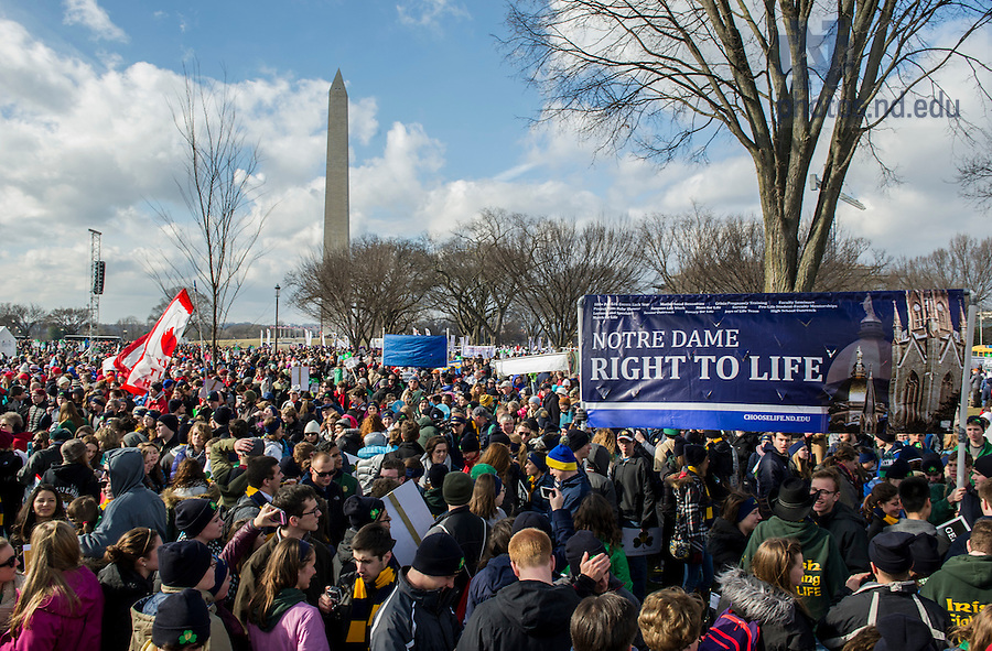 Jan. 22, 2015;  University of Notre Dame students, faculty, staff and alumni gather for the 2015 March for Life in Washington, DC. This year observes the 42nd anniversary of the Supreme Court's 1973 Roe v. Wade decision legalizing abortion. (Photo by Barbara Johnston/University of Notre Dame)