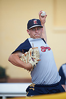 Brevard County Manatees pitcher Brad Kuntz (14) before a game against the Lakeland Flying Tigers on April 20, 2016 at Henley Field in Lakeland, Florida.  Lakeland defeated Brevard County 5-2.  (Mike Janes/Four Seam Images)