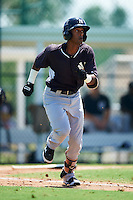 GCL Yankees East shortstop Yonauris Rodriguez (19) runs to first during a game against the GCL Pirates on August 15, 2016 at the Pirate City in Bradenton, Florida.  GCL Pirates defeated GCL Yankees East 5-2.  (Mike Janes/Four Seam Images)