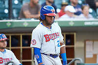 Vladimir Guerrero Jr. (47) of the Buffalo Bison waits for his turn to bat during the game against the Charlotte Knights at BB&T BallPark on August 14, 2018 in Charlotte, North Carolina. The Bison defeated the Knights 14-5.  (Brian Westerholt/Four Seam Images)
