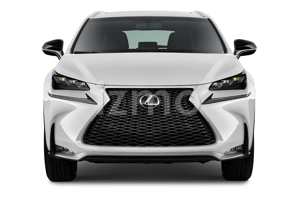 Car photography straight front view of a 2017 Lexus NX 200t-F-Sport 5 Door SUV Front View
