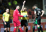 St Johnstone v Hibs…16.03.18…  McDiarmid Park    SPFL<br />Ofir Marciano is sent off by referee John Beaton for handling Chris kane's shot outside the box<br />Picture by Graeme Hart. <br />Copyright Perthshire Picture Agency<br />Tel: 01738 623350  Mobile: 07990 594431