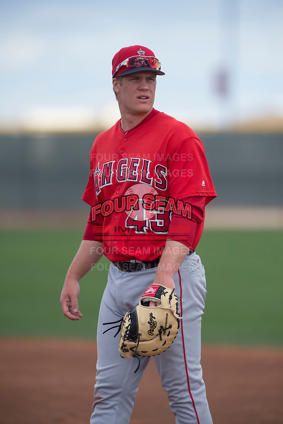 Los Angeles Angels first baseman David MacKinnon (43) during a Minor League Spring Training game against the Cincinnati Reds at the Cincinnati Reds Training Complex on March 15, 2018 in Goodyear, Arizona. (Zachary Lucy/Four Seam Images)