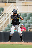 Ty Moore (22) of the West Virginia Power at bat against the Kannapolis Intimidators at Kannapolis Intimidators Stadium on June 18, 2017 in Kannapolis, North Carolina.  The Intimidators defeated the Power 5-3 to win the South Atlantic League Northern Division first half title.  It is the first trip to the playoffs for the Intimidators since 2009.  (Brian Westerholt/Four Seam Images)