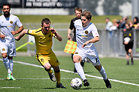 Andrew Bevin of Team Wellington competes for the ball with Henry Hamilton of the Wellington Phoenix during the ISPS Handa Men's Premiership - Wellington Phoenix v Team Wellington at Fraser Park, Wellington on Saturday 14 November 2020.<br /> Copyright photo: Masanori Udagawa /  www.photosport.nz