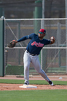Cleveland Indians first baseman Emmanuel Tapia (28) during a Minor League Spring Training game against the San Francisco Giants at the San Francisco Giants Training Complex on March 14, 2018 in Scottsdale, Arizona. (Zachary Lucy/Four Seam Images)