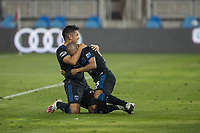 SAN JOSE, CA - OCTOBER 07: Andres Rios #25 of the San Jose Earthquakes celebrates a goal with his teammate Judson #9 during a game between Vancouver Whitecaps and San Jose Earthquakes at Eathquakes Stadium on October 07, 2020 in San Jose, California.