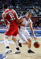 Dusko SAVANOVIC (Serbia) passes Ersan ILYASOVA (Turkey) during the semi-final World championship basketball match against Turkey in Istanbul, Serbia-Turkey, Turkey on Saturday, Sep. 11, 2010. (Novak Djurovic/Starsportphoto.com) .
