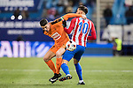 Yannick Ferreira Carrasco (r) of Atletico de Madrid fights for the ball with Ander Capa Rodriguez of SD Eibar during their Copa del Rey 2016-17 Quarter-final match between Atletico de Madrid and SD Eibar at the Vicente Calderón Stadium on 19 January 2017 in Madrid, Spain. Photo by Diego Gonzalez Souto / Power Sport Images