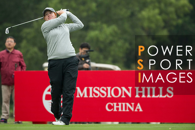 Felicity Johnson of England tees off at the 17th hole during Round 2 of the World Ladies Championship 2016 on 12 March 2016 at Mission Hills Olazabal Golf Course in Dongguan, China. Photo by Victor Fraile / Power Sport Images