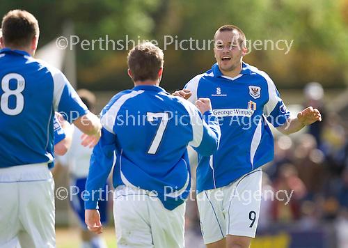St Johnstone v Morton....02.05.09.Steven Milne celebrates his making it 2-1.Picture by Graeme Hart..Copyright Perthshire Picture Agency.Tel: 01738 623350  Mobile: 07990 594431